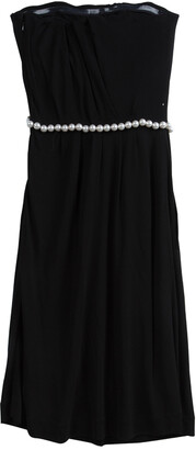 Chanel Black Knit Pearl Embellished Strapless Dress S