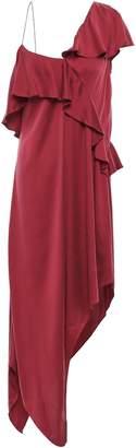 Haute Hippie Asymmetric Ruffled Washed Stretch-silk Midi Dress