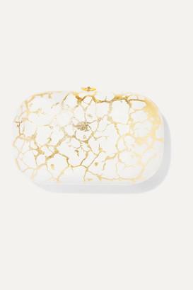 JEFFREY LEVINSON Elina Plus 18-karat Gold And Enameled Aerospace Aluminum Clutch - White