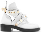 Balenciaga Buckled Cutout Leather Ankle Boots - White