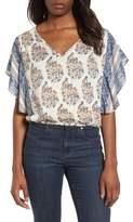 Lucky Brand Ruffled Mixed Print Top
