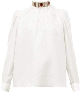 Chloé Embellished High Neck Logo Jacquard Silk Blouse - Womens - White Multi