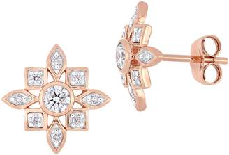 Everly Concerto 10K Rose Gold Floral Stud Earrings with 0.33 CT. T.W. Diamond