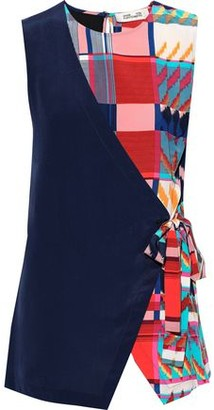 Diane von Furstenberg Sedona Wrap-effect Printed Silk Crepe De Chine Top