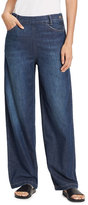 Vince High-Rise Side Zip Wide-Leg Denim Jeans, Mid Wash