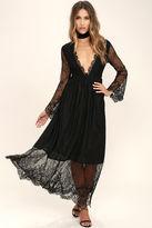 Glamorous Twilight Hour Black Lace Maxi Dress