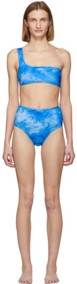 Off-White Blue Tie-Dye All Over One-Shoulder Bikini
