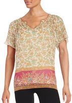 Lucky Brand Floral-Print Short-Sleeve Top
