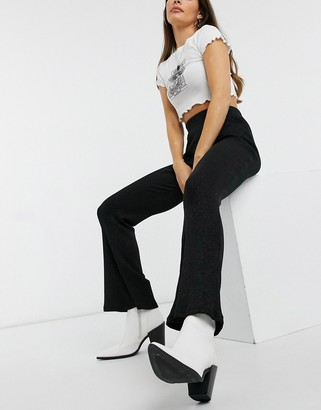 Pieces ribbed sparkly flares with high waist in black
