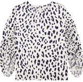 Tibi Leopard-print Silk-satin Blouse