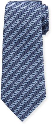 Ermenegildo Zegna Men's Ribbed Diagonal Stripe Silk Tie