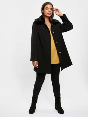 Evans Faux Fur Collar Dolly Coat - Black