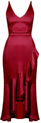 Undress Nuita Deep Red Satin Bias Frill Midi Dress