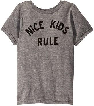 The Original Retro Brand Kids Nice Kids Rule Vintage Tri-Blend Short Sleeve Tee (Little Kids/Big Kids) (Streaky Grey) Kid's Clothing