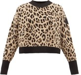 Moncler Leopard-jacquard Wool-blend Sweater - Womens - Animal