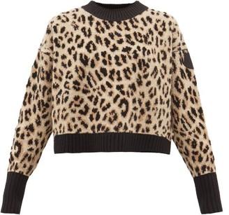 Moncler Leopard-jacquard Wool-blend Sweater - Womens - Animal