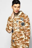 boohoo Over The Head Camo Hoodie With Badges