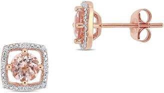 Concerto 10K Rose Gold and Morganite Halo Birthstone Stud Earrings with 0.07 CT. T.W. Diamond