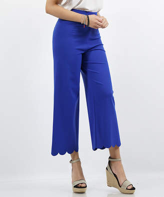 Lydiane Women's Casual Pants DENIM - Denim Blue Scallop-Hem High-Rise Crop Pants - Women & Plus