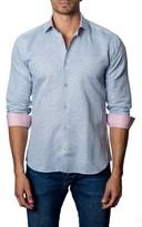Jared Lang Men's Trim Fit Micro Grid Sport Shirt