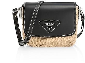 Prada Raffia & Leather Crossbody Bag