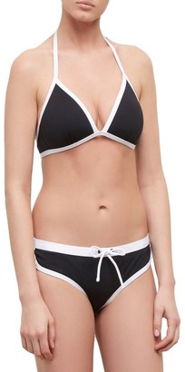 Kenneth Cole Reaction Women's On The Edge Halter Push Up Bra Bikini Top with Adjustable Neck Ties