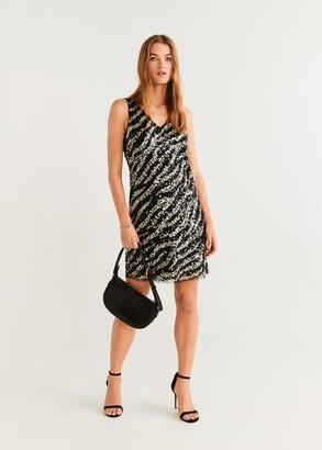 MANGO Zebra sequined dress