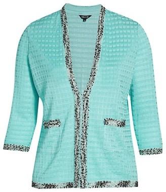 Misook, Plus Size Plus Size Embellished-Trim Check Knit Jacket