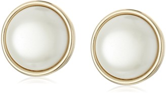 Anne Klein Roundabout Gold-Tone & Pearl Round Button Clip Earrings