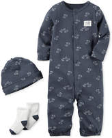 Carter's 3-Pc. Cotton Puppy-Print Hat, Coverall & Socks Set, Baby Boys
