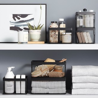 Container Store Design Ideas Black Wire Grid Storage Bins