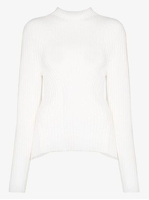 Low Classic Ribbed Knit Open Back Sweater