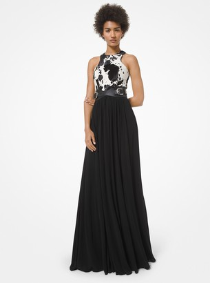 Michael Kors Collection Pony Print Calf Hair and Georgette Jersey Gown