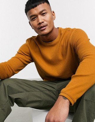 Bershka crew neck jumper in mustard