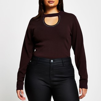 River Island Womens Plus Red embellished cut out top
