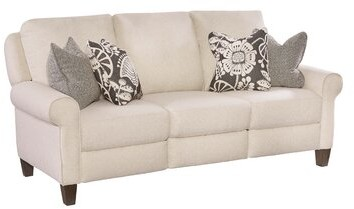 """Thumbnail for your product : Southern Motion Dynasty 82"""" Rolled Arm Reclining Sofa Fabric: Beige Polyester"""