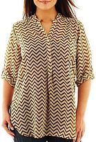 JCPenney Riley & James Chiffon Popover Top - Plus