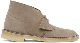 Clarks Taupe Suede Desert Boots