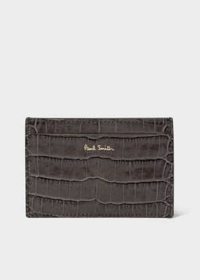 Paul Smith Men's Grey Mock Croc Leather Credit Card Holder with 'Bright Stripe' Trim