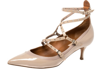 Valentino Beige Patent Leather Love Latch Pumps Size 39