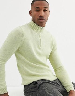 ASOS DESIGN midweight cotton half zip jumper in lime green twist