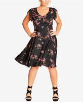 City Chic Trendy Plus Size Floral-Print A-Line Dress