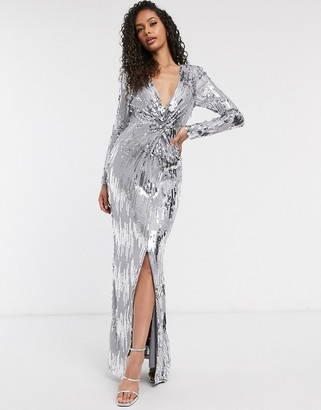Frock and Frill Club knot front silver embellished maxi dress in gray