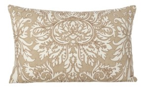 "Saro Lifestyle Stitched Damask Design Cotton Throw Pillow, 12"" x 20"""