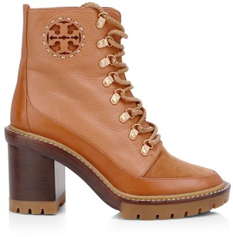 Tory Burch Miller Lug-Sole Leather Hiking Boots