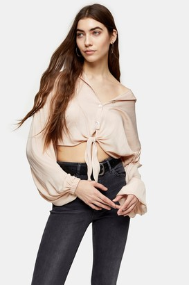 Topshop Womens Tall Champagne Satin Tie Front Shirt - Champagne