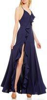 GB Social Lace-Up Back V-Neck Cascading Ruffle Wrap Dress