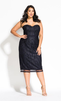 City Chic Antonia Dress - navy