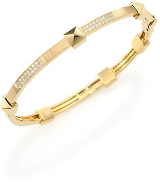 Marli Pyramide Diamond & 18K Yellow Gold Boheme Oval Bangle Bracelet