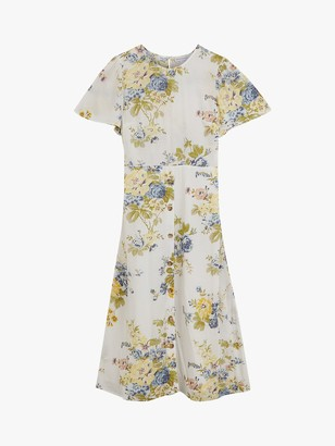 Warehouse Bonnie Rose Print Midi Dress, Multi
